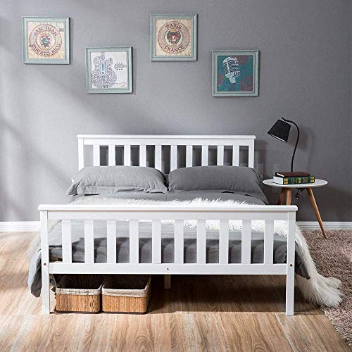 N\A Single Bed 90 x 190cm, Double Bed 135 x 190cm, Solid White Wooden Bed Frame for Adults Kids Teenagers, Bedroom Guest Room Dorm Hotel Furniture (135x190cm)