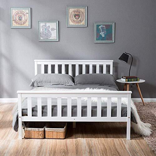 YIREAUD Marco de madera para cama de matrimonio, 100 cm, pino macizo blanco para adultos, niños, adolescentes
