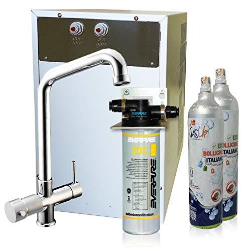 Luftreiniger Mikrofiltrations Wasser ForHome® mit Wasserfilter Everpure von Spüle, gekühlte Kühlwasser Sprudelwasser mit 5-Wege Hahn + 2Kg CO2-Zylinder