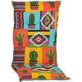 nxtbuy Gartenstuhl-Auflage Nizza 120x52 cm Mexico 2er Set - Hochlehnerauflage für Gartenstühle - Stuhlauflage mit Komfortschaumkern - Made in EU / ÖkoTex100