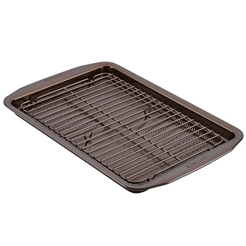 Circulon Nonstick Bakeware Set with Nonstick Cookie Sheet / Baking Sheet and Cooling Rack - 2 Piece, Chocolate Brown