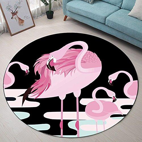 Nordic Fashion INS Runde Teppich Kreative Flamingo Deer Polyester Rutschfeste Teppich Soft Crystal Beflockte Matte Wohnzimmer Schlafzimmer Schlafzimmer Kinderzimmer(Design : C, Size : D60cm)
