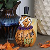 Halloween Pumpkin Decorations Indoor, Resin Mummy Pumpkin Figurine for Home Table Decor Halloween Party, Orange