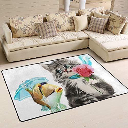 Jsteel Teppich, waschbar, weich, für Wohnzimmer, Schlafzimmer, mit Katzenmotiv, 90 x 60 cm, Multi, 90 x 60 cm