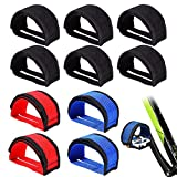 FULANDL 5 Pairs Bike Pedal Straps, Pedal Toe Clips Straps Tape Bicycle Feet Strap for Fixed Gear Mountain Bike, Road Bike, Beginners (Black, Red, Blue)