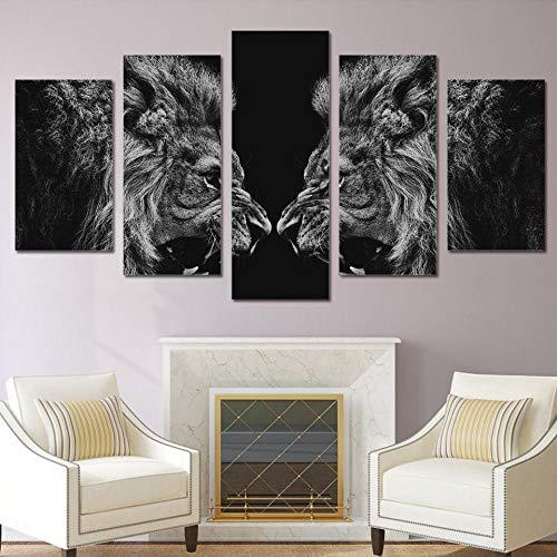 HUA JIE Auf Bildkunstdruck Gemälde Artsailing 5 Stück Hd Printed Lion Spiegel Malerei Leinwand Print Raumdekor Druck Poster Bild Leinwand 5974