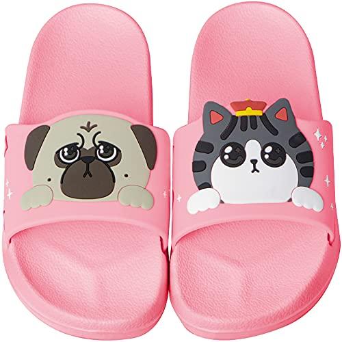 BOPU Cute Cat & Dog Girls Slide Sandal, Boys Slide Sandal Pool Slide Sandal, Non-Slip Kids Boys Girls Summer Shower Pool Beach Kids Slide Sandal (Little Kids/Toddler 3-8 Years)(Pink Little Kid 11-12)