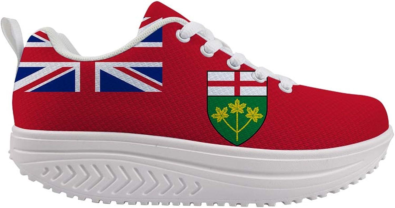 Owaheson Swing Platform Toning Fitness Casual Walking shoes Wedge Sneaker Women Ontario Flag