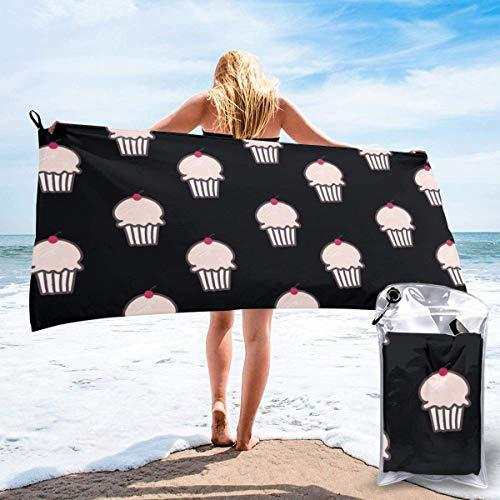 Toallas de Playa sin Arena Cup Cake Love Toalla de baño súper Absorbente de Secado rápido para Nadar y al Aire Libre, Toalla de Yoga portátil para niños Adultos