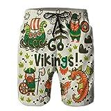 Xunulyn Printed Men 's Summer Casual Board Shorts Swim Trunks go Vikings Motivation Card