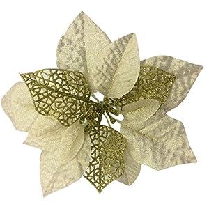 Zabrina 12 Pcs 7.8″ Christmas Tree Decorative Silk Flower Gold Poinsettia Bush Poinsettia Christmas Tree Artificial Flowers Glitter Poinsettia Christmas Tree Ornaments Xmas Tree Flowers, Gold