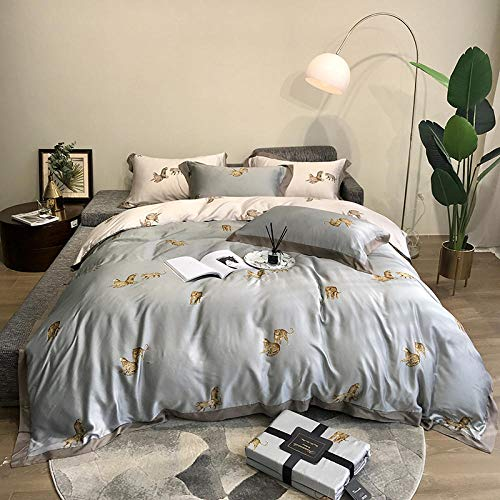 Four-piece bed,Light style 80 double-sided tencel leopard four-piece set of ice silk cool bed sheets bed quilt cover bedding bed linen-Leopard gray-green_2.0M