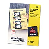 Avery 73603 Clear Self-Adhesive Laminating Sheets, 3 mil, 9 x 12, 10/Pack