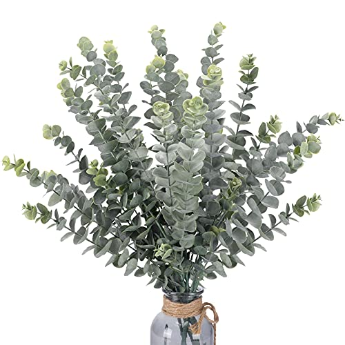 FUNARTY 35' Tall 6 Pcs Artificial Eucalyptus Leaves Long Stems 5 Branches Fake...