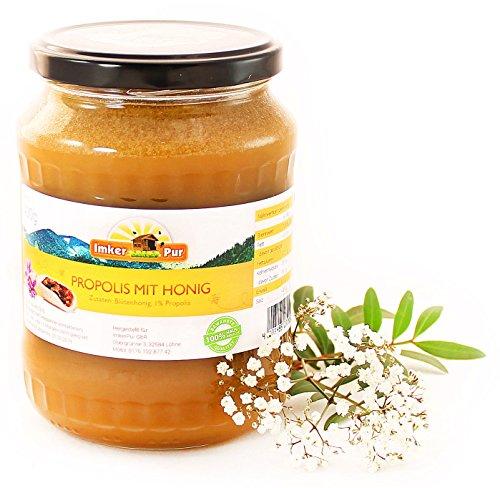 Honig mit Propolis von ImkerPur®, 1000g, kaltgeschleudert, malzig-herb, mit einer kräftigen Malz-Note