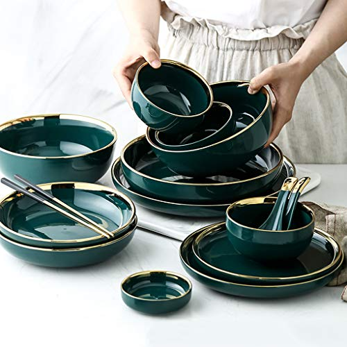 Porcelain Dinnerware Set, 35 Pieces Dark Green Phnom Penh Ceramics Dinner Sets | Plate/Bowl/Spoon - Tableware Combination Set for Hotel Restaurant