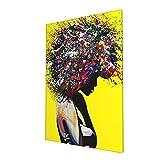 UPKIU African American Art, Afro Woman Ready to Hang Pop Art Large Wall Art Painting Print Living Room Wall Art, Modern Wall Art 16x24in