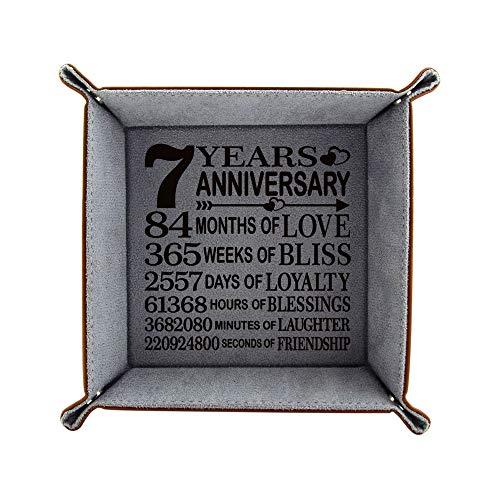 KATE POSH 7th Anniversary Tray, Traditional Wool Wedding Anniversary, Engraved Wool Organization Jewelry Tray for Husband, Wife, Boyfriend, Girlfriend