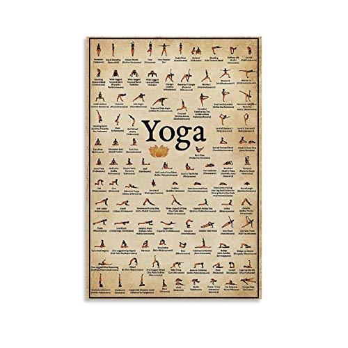 ERTYG Póster retro de yoga, posturas de yoga, pintura decorativa en lienzo para pared, sala de estar, dormitorio, 20 x 30 cm