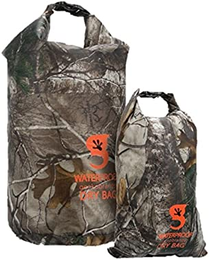 geckobrands Lightweight Compression Dry Bag (Set of 2) – Outdoor Activities, Fishing, Hunting, Boating, Rain, Snow, Realtree Edge Camo