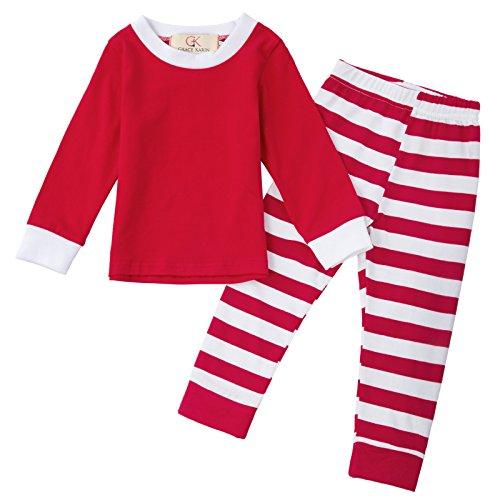 Fashion mädchen Weihnachten rot gestreifte Baumwolle Schlafanzug 80cm CLAM1009-1