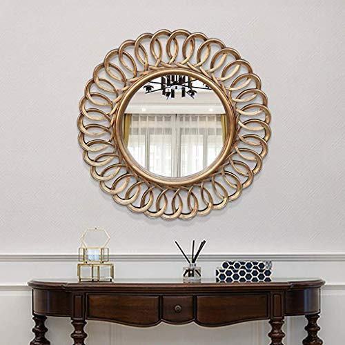 ZYLBDNB Retro Runder Spiegel Wohnzimmer Wanddekoration Spiegel Amerikanische Veranda Kamin Spiegel Muster Sonnenspiegel