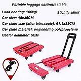 ZYZYZY Falten Tragbar 6 Räder Rollwagen Transport Höhe-einstellbar Multifunktions Küchenwagen Für Gepäck Einkaufen Handhabung Beistellwagen Pink 48x35cm