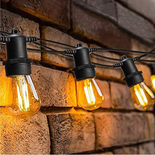 16 Meter LED Lichterkette Außen,OxyLED S14 LED Garten Lichterkette Glühbirne Retro,IP65 Wasserdicht,Dimmbar&Timer,15X2W LED Birnen E27 Warmweiß 2500K für Innen und Außen Deko Garten Hochzeit