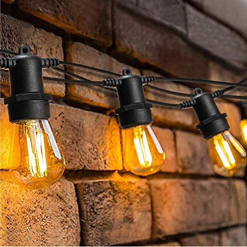【Dimmable&Timer】49FT Outdoor String Lights LED,OxyLED IP65 Waterproof Heavy Duty Commercial String Lights,15X2W LED Bulbs E27 2500K Garden Lights for Party,Birthday,Christmas,Wedding