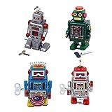 CUTICATE 4pcs 9cm Wind Up Roboter mit Uhrwerk- Blechroboter - Retro Blechspielzeug