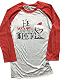 Christmas He Sees You When You're Drinking Baseball T-Shirt Long Sleeve Splicing Tops for Women Size M (Red)