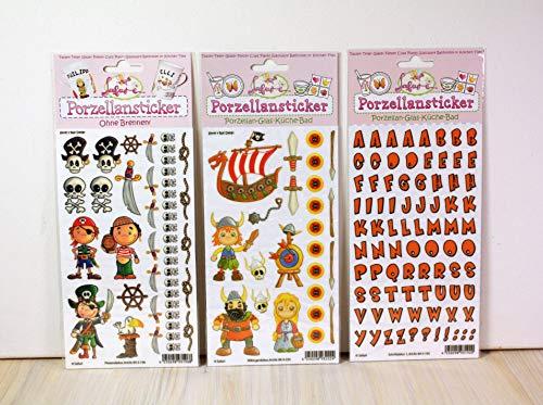 Porcelana Set de 5, Pirata, vikingo, texto Naranja + Libro de instrucciones gratis