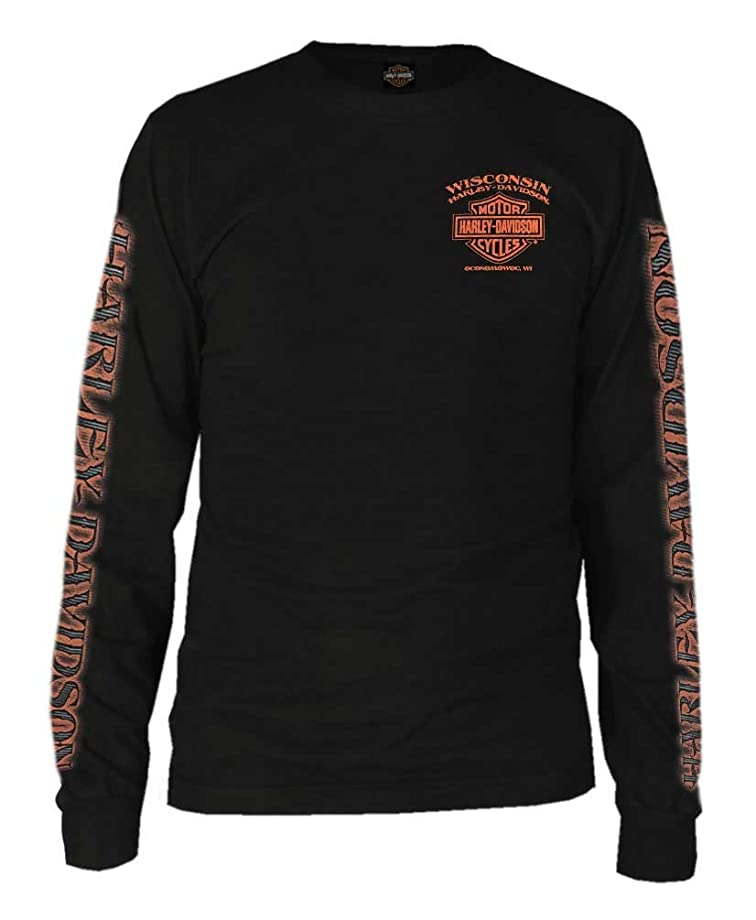 Harley-Davidson Men's Eagle Piston Long Sleeve Crew Shirt, Black 30299947
