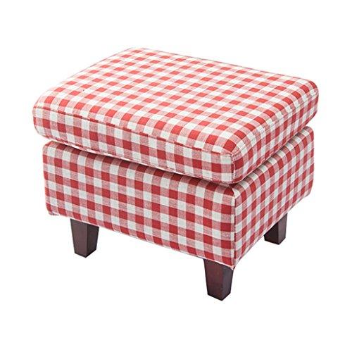 Tabouret en bois Tabouret à chaussures Pouf rembourré repose-pieds carré en siège en tissu de lin à damier rouge pour le salon | Couloir Heavy Duty Max.150KG 55x45x43cm