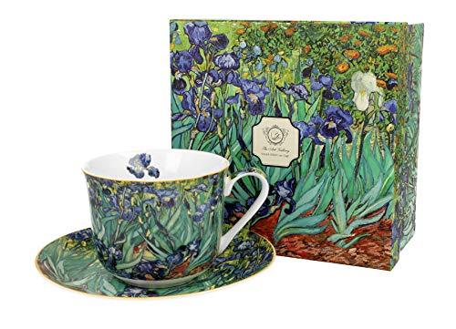 Duo Eine Jumbotasse und Untertasse Iris von Van Gogh 450ml Riesentasse Unterteller große Kaffeetasse Kunst Kaffee-Tasse Jumbo-Tasse Riesen-Tasse Unter-Tasse Art Porzellan Unter-Teller