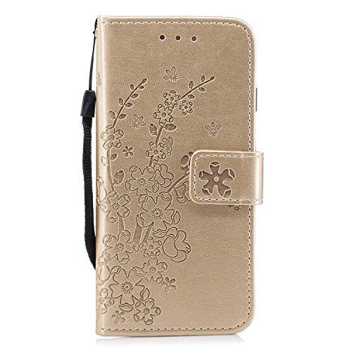 Galaxy A8 2018 Hülle, Bear Village® Ständer Funktion Schutzhülle mit Geldfach und Kartenfach, Leder Brieftasche Flip Hülle für Samsung Galaxy A8 2018 (#1 Golden)