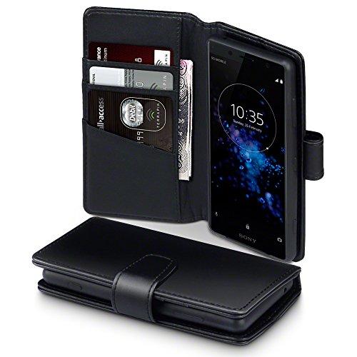 TERRAPIN, Kompatibel mit Sony Xperia XZ2 Compact Hülle, [ECHT Leder] Brieftasche Case Tasche mit Standfunktion Kartenfächer & Bargeld - Schwarz