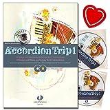 Accordion Trip Band 1 39 canciones y bailes de Europa para 1 – 2 acordeones – Acordeón notas con 2 CD y colorido clip en forma de corazón