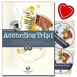 Accordion Trip Band 1 39 chansons et danses d\'Europe pour 1 à 2 accordéons - Partitions d\'accordéon avec 2 CD et pince à partitions colorée en forme de cœur