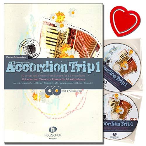 Accordion Trip Band 1 39 chansons et chansons en Europe pour 1-2 accordéons - Accordéon notes avec 2 CD et pince à partitions en forme de cœur multicolore
