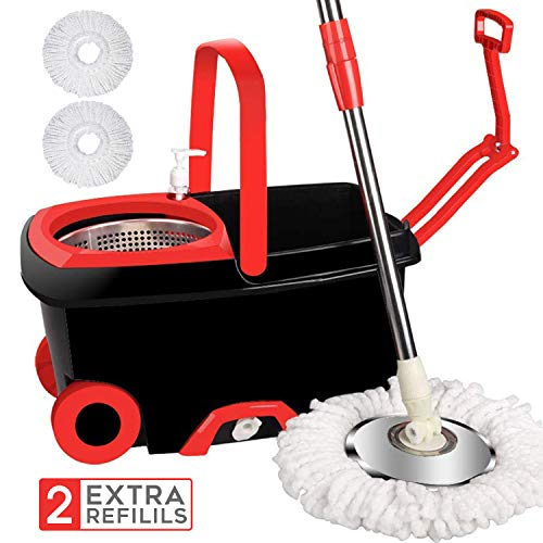 LETTON 360 Spin Mop Bucket with 2 Extra Microfiber Head Refills 2X Wheels 61inch...