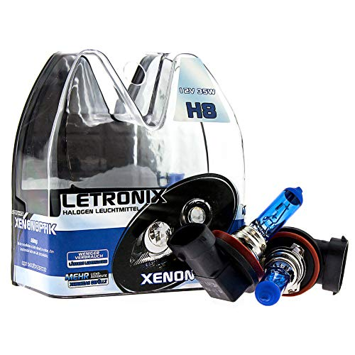LETRONIX Halogen Auto Lampen H8 12V 8500K Kalt Weiß Xenon Optik Gas Ultra White Look Birnen Lampe Abblendlicht Nebelscheinwerfer Fernlicht Kurvenlicht Zulassung E-Prüfzeichen (LED Optik) (H8 35W)