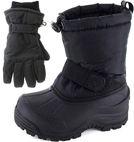 Northside Frosty Winter Boys/Girls Snow Boots with Matching Waterproof Gloves, Size: 4 M US Big Kid - Black (Black)