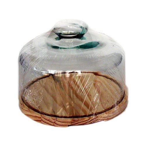 Inalsa Quesera con Base DE Madera Y Campana DE Cristal, White/Brown, 30 x 22 x 30 cm