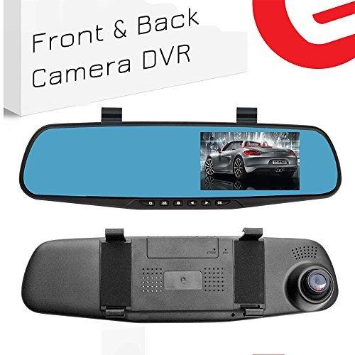 Ezonetronics - Grabadora de vídeo para coche Full HD 1080P - LCD para los espejos frontal y retrovisor del coche con doble lente | Cámara grabadora para vehículos