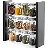 Updated Version(Design Bottle Appearance with Handle)-Spice Rack Stand Holder Wood Herb and Spice Rack Stand with 12 Clear Glass Jar Bottles for Kitchen Counter (Spices Not Included)