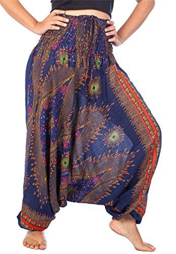 Lofbaz Damen Smocked Taille Blumen Muster 2 in 1 Harem Hose Overall Dunkelblau 3XL