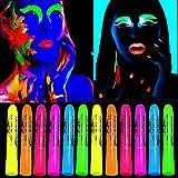 12 Pack UV Neon Facial Body Paint Sticks...