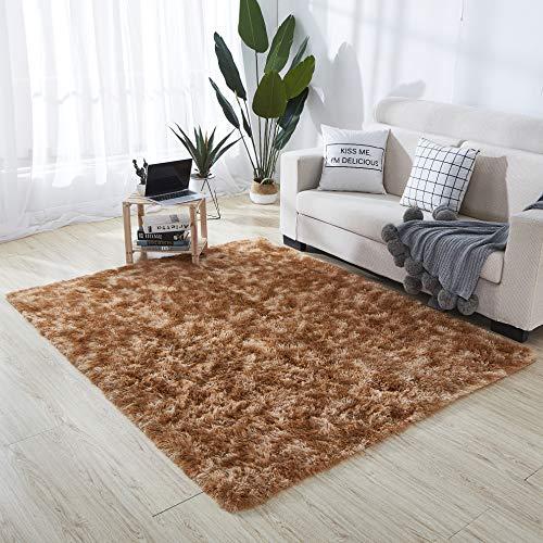HEXIN Alfombra de Terciopelo,Alfombra de área Peluda Suave Alfombras mullidas de Interior Modernas, cómodas alfombras de Sala de Estar, Alfombra de Dormitorio(Caqui, 80x160cm)