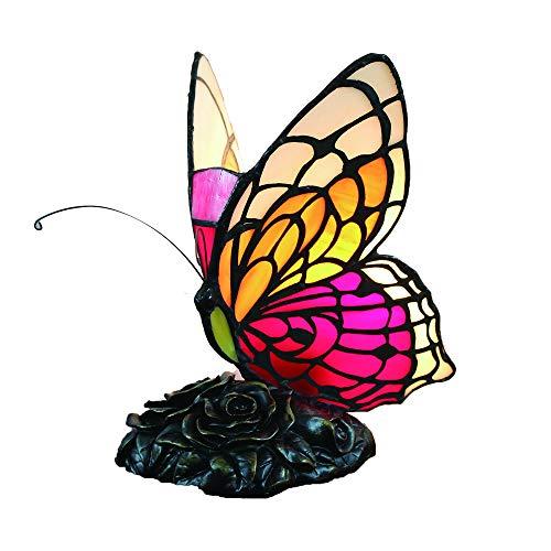 Tokira Vintage Tiffany Lampada Da Tavolo, Rosa Farfalla Vetro Colorato Paralume Lampada Da Scrivania, Stile Semplice Su Capezzale Camera da Letto Soggiorno